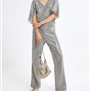 Zara sparkling cape jumpsuit sz med